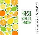 cute citrus fruits lemon  lime... | Shutterstock .eps vector #1342804526