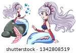 cute mermaid sitting on rock.... | Shutterstock .eps vector #1342808519