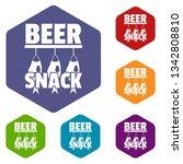beer snack icons vector... | Shutterstock .eps vector #1342808810