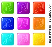music note icons set 9 color... | Shutterstock .eps vector #1342808909
