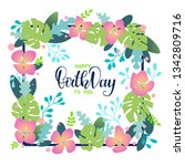 fantasy floral card with happy... | Shutterstock .eps vector #1342809716