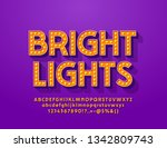 vector bright lights alphabet... | Shutterstock .eps vector #1342809743