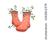 women's country red boots with... | Shutterstock .eps vector #1342811579