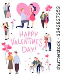 valentine's day greeting card... | Shutterstock .eps vector #1342827353