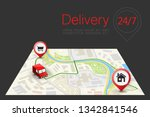delivery navigation route  city ... | Shutterstock .eps vector #1342841546