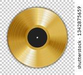 realistic gold gramophone vinyl ... | Shutterstock .eps vector #1342875659