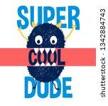 cute monster print design with... | Shutterstock .eps vector #1342884743