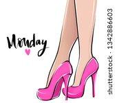 vector girl in high heels.... | Shutterstock .eps vector #1342886603