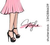 vector girl in high heels.... | Shutterstock .eps vector #1342886639