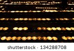 Burning candles in the St. Stephan cathedral, Vienna, Austria - stock photo