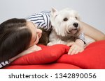 a young girl is hugging a dog... | Shutterstock . vector #1342890056