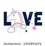 sweet unicorn illustration and... | Shutterstock .eps vector #1342891676