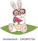 happy white bunny eating slice... | Shutterstock .eps vector #1342891736