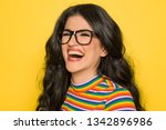 attractive laughing brunette... | Shutterstock . vector #1342896986