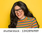 attractive laughing brunette... | Shutterstock . vector #1342896989