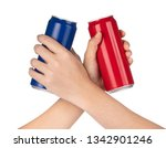 two hand clinking beverage cans ... | Shutterstock . vector #1342901246