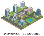 isometric building vector.... | Shutterstock .eps vector #1342902863