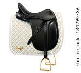 black leather dressage saddle... | Shutterstock .eps vector #134290736