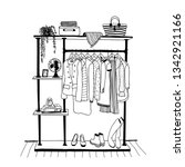 outline drawing of clothes... | Shutterstock .eps vector #1342921166