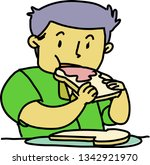 vector. the man is sitting at... | Shutterstock .eps vector #1342921970