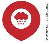 rain icon and map pin. logo...