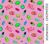 colorful pills around... | Shutterstock . vector #1342945553