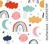 baby seamless vector pattern.... | Shutterstock .eps vector #1342945709