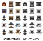different kinds of fireplaces... | Shutterstock .eps vector #1342949399