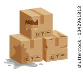 damaged crate boxes 3d  broken... | Shutterstock .eps vector #1342961813