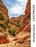 beautiful slopes of zion canyon.... | Shutterstock . vector #134298434