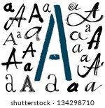 vector alphabet. hand drawn...   Shutterstock .eps vector #134298710