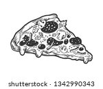 slice of pizza sketch engraving ... | Shutterstock .eps vector #1342990343