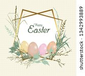 card happy easter holiday.... | Shutterstock .eps vector #1342993889