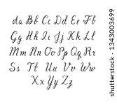 hand drawn brush ink alphabet... | Shutterstock .eps vector #1343003699