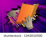 vector cartoon hand holding and ... | Shutterstock .eps vector #1343010500