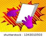 vector cartoon hand holding and ... | Shutterstock .eps vector #1343010503