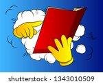 vector cartoon hand holding and ... | Shutterstock .eps vector #1343010509