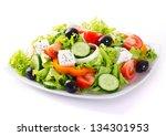 fresh vegetable salad isolated... | Shutterstock . vector #134301953