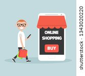 mobile online shopping.young... | Shutterstock .eps vector #1343020220