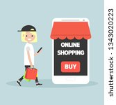 mobile online shopping.young... | Shutterstock .eps vector #1343020223