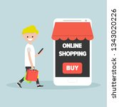 mobile online shopping.young... | Shutterstock .eps vector #1343020226