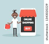 mobile online shopping.young... | Shutterstock .eps vector #1343020229