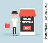 mobile online shopping.young... | Shutterstock .eps vector #1343020250