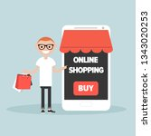 mobile online shopping.young... | Shutterstock .eps vector #1343020253