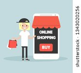 mobile online shopping.young... | Shutterstock .eps vector #1343020256