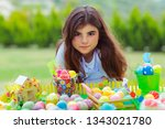 portrait of a cute little girl...   Shutterstock . vector #1343021780