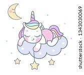 cute unicorn vector pony... | Shutterstock .eps vector #1343030069