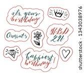 hand lettering birthday wishes... | Shutterstock .eps vector #1343038976
