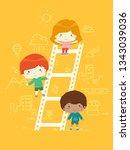 illustration of kids standing... | Shutterstock .eps vector #1343039036