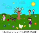 spring landscape with kids blue ... | Shutterstock . vector #1343050520